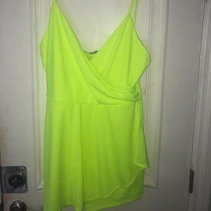 Dresses & Skirts - Neon yellow surplice romper